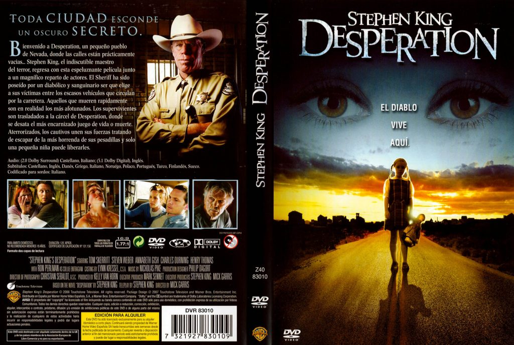 portada del la pelicula deseperation de Stephen King