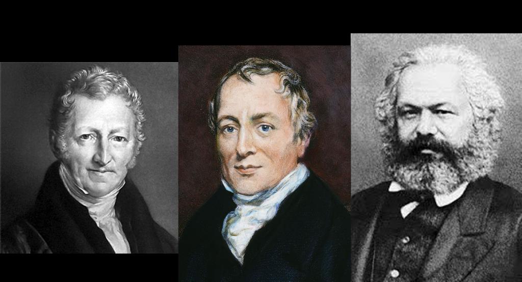 Thomas Malthus, David Ricardo y Karl Marx